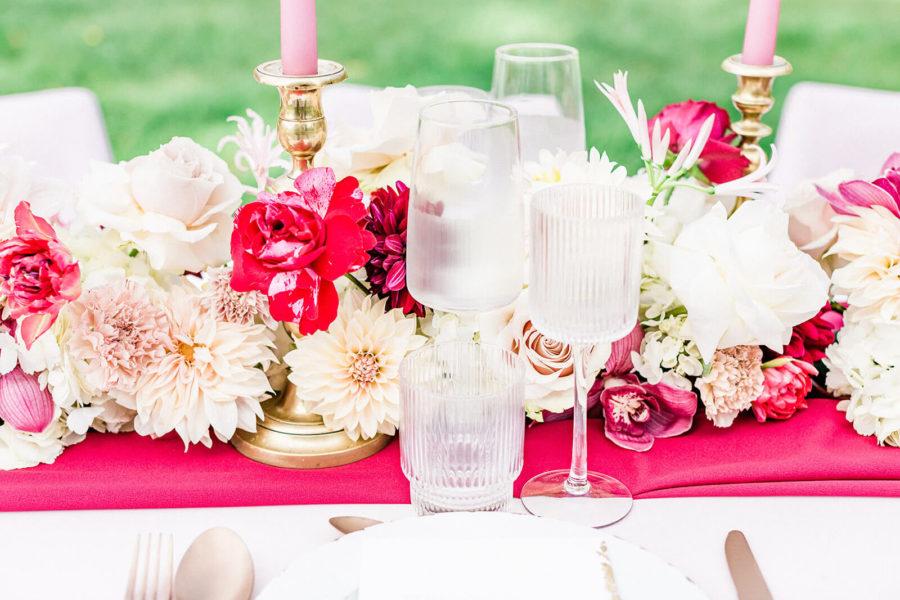 table et décoration de mariage au chateau de saint martory