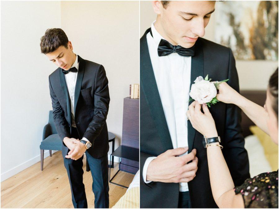 mariée qui arrange son costume