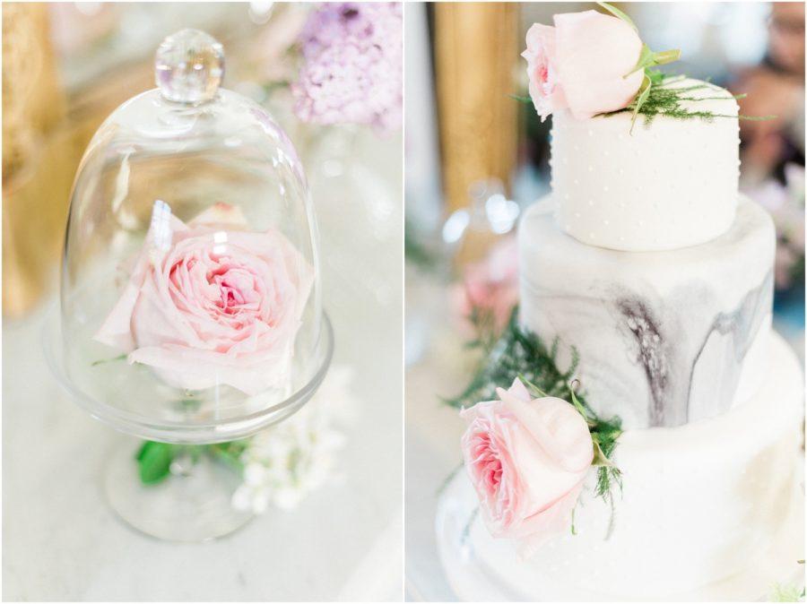 fleurs dans bocal et wedding cake