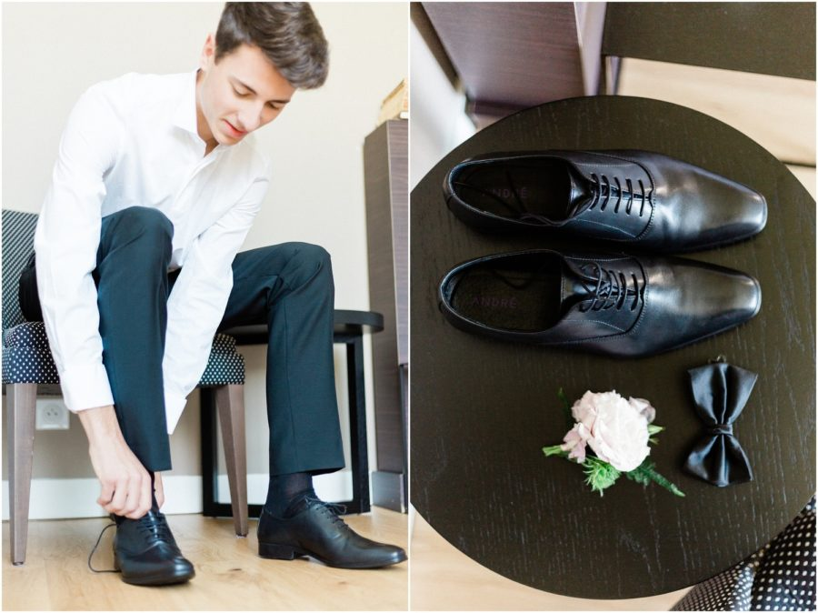 marié qui fait ses chaussures