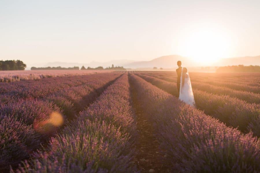 champs de lavande au lever de soleil avec un couple de mariés