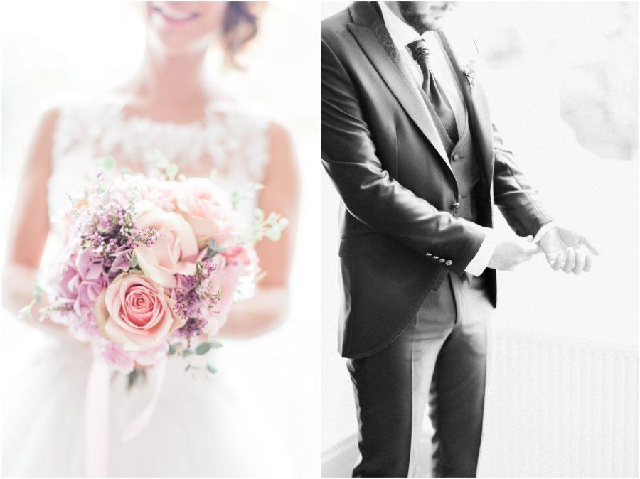 dyptique bouquet de la mariée et préparation du marié
