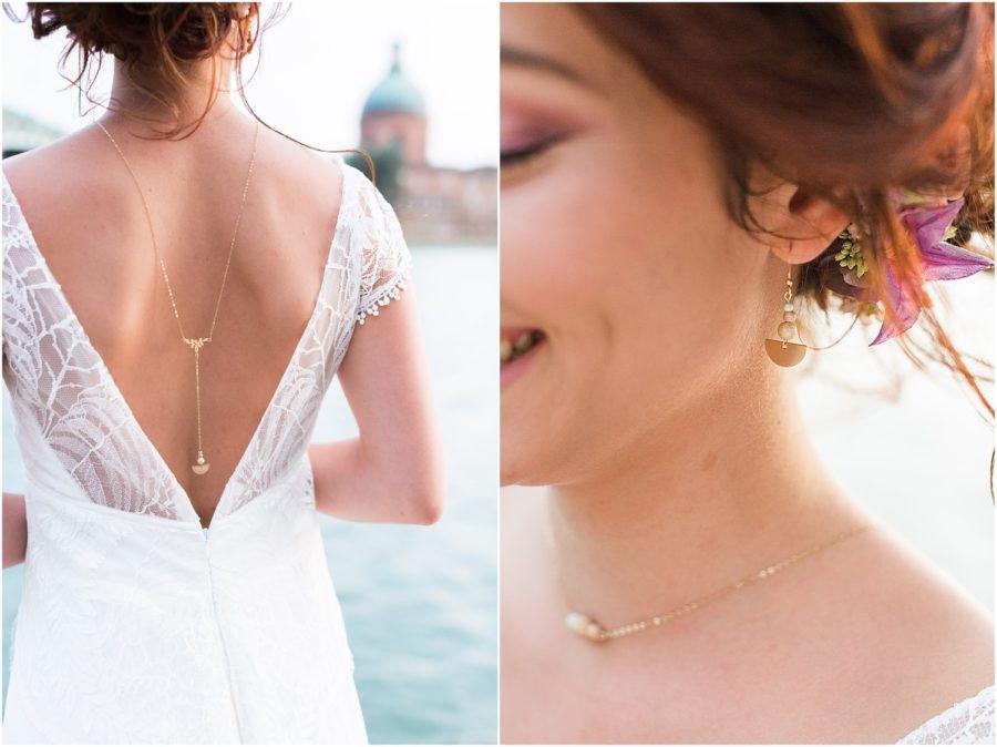 dyptique avec une photo de la mariée de dos, et une autre close up sur la boucle d'oreille de la mariée