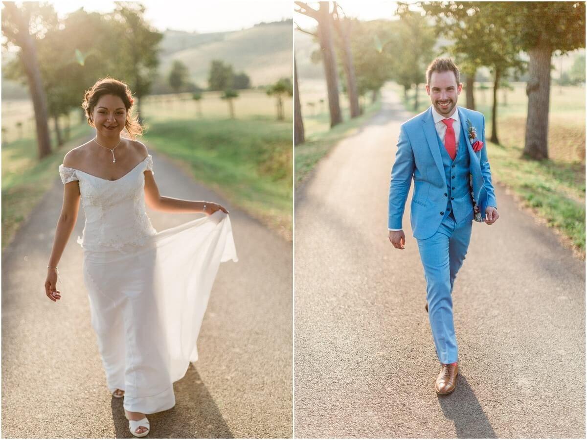 diptyque de mariés qui marchent au domaine de ronsac