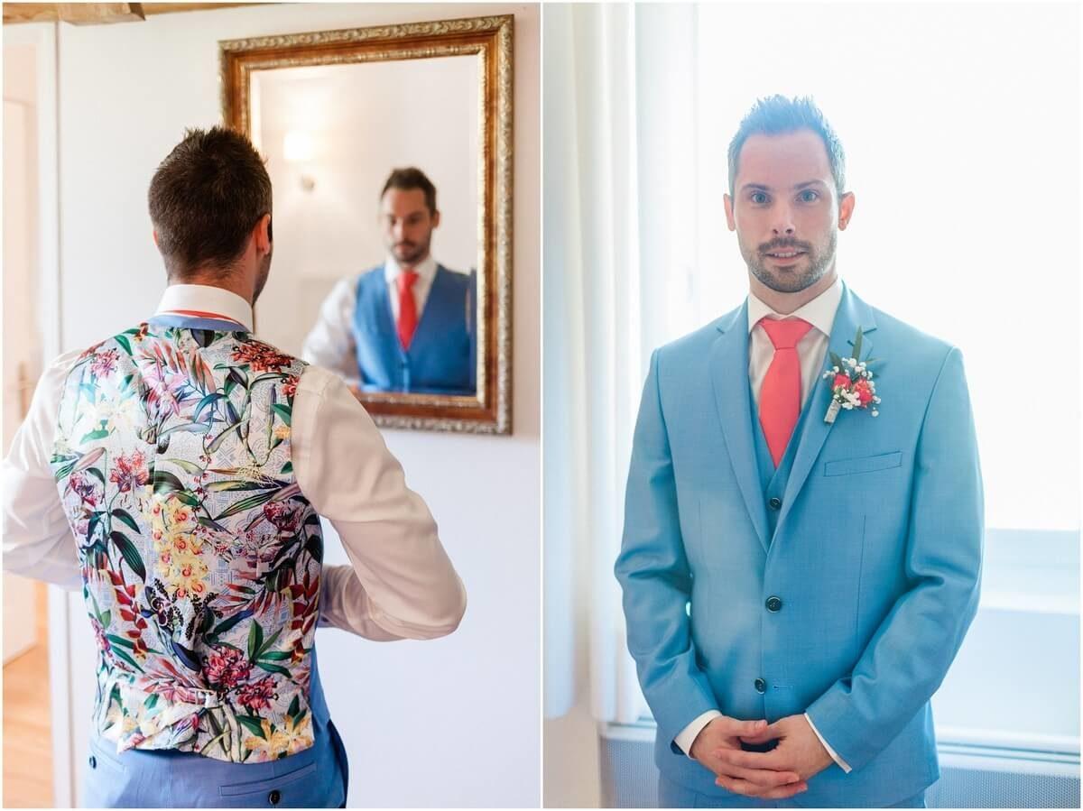 diptyque du marié qui se prépare et un portrait du marié