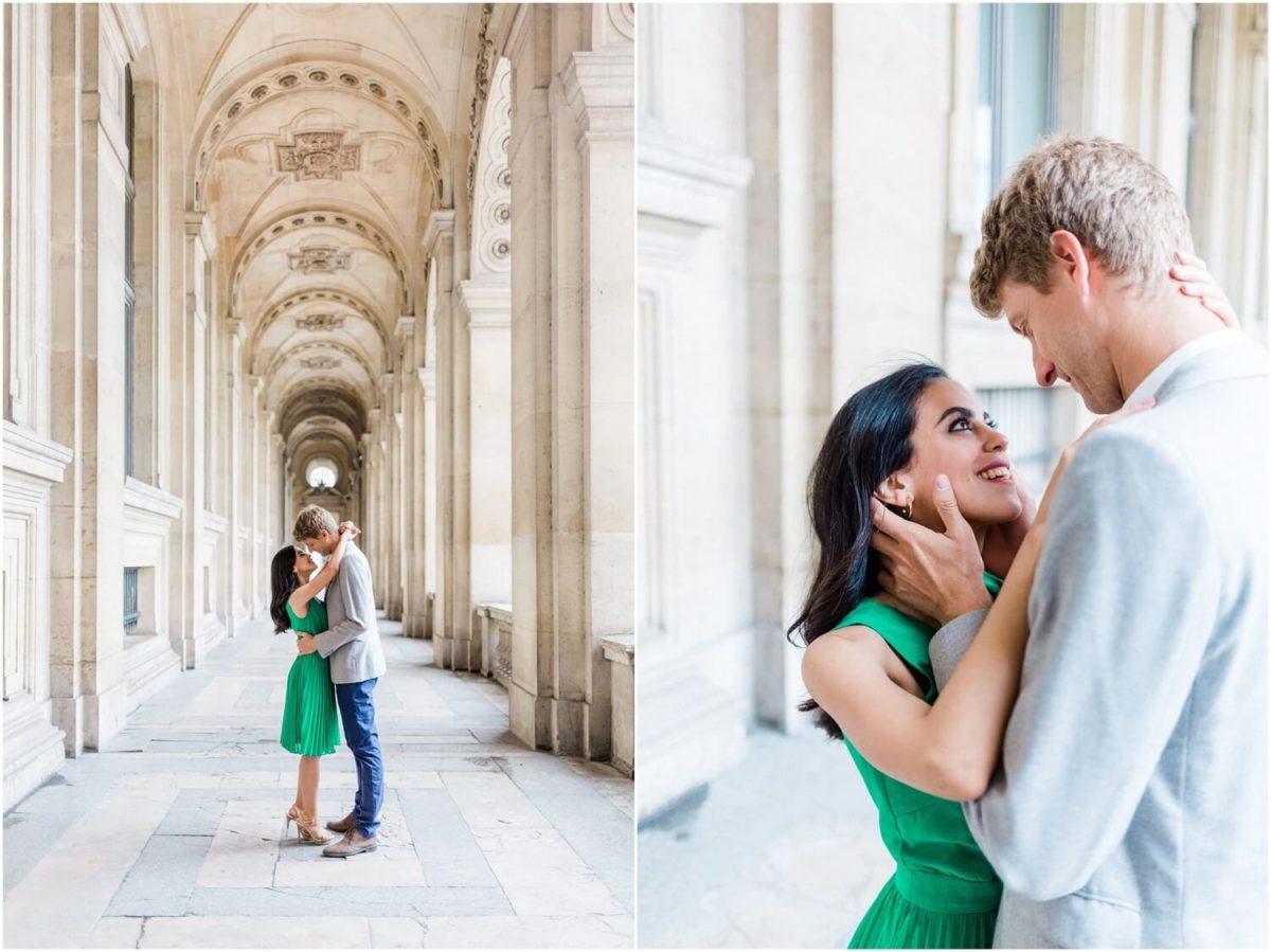 diptyque du couple de mariés pendant la seance photo couple paris