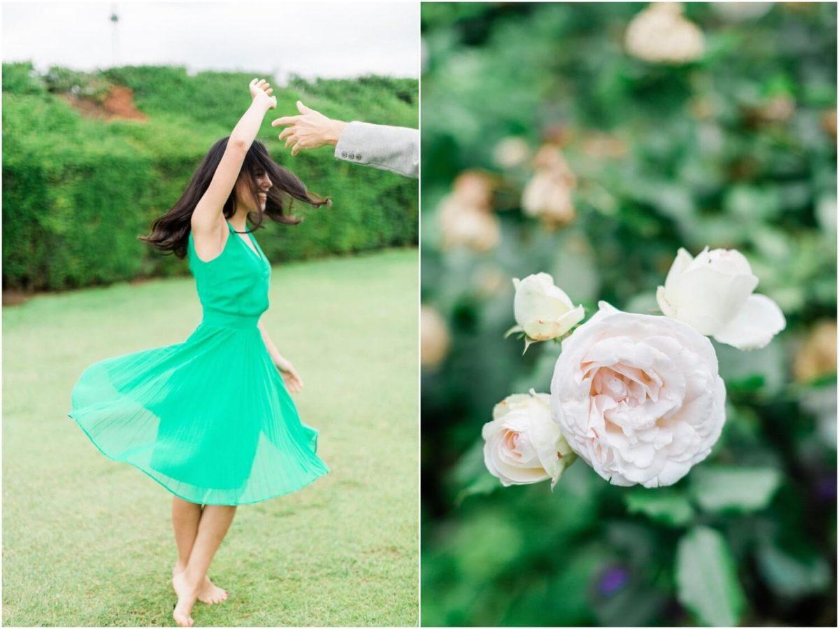 diptyque future mariée qui danse et une rose pendant la seance photo couple paris