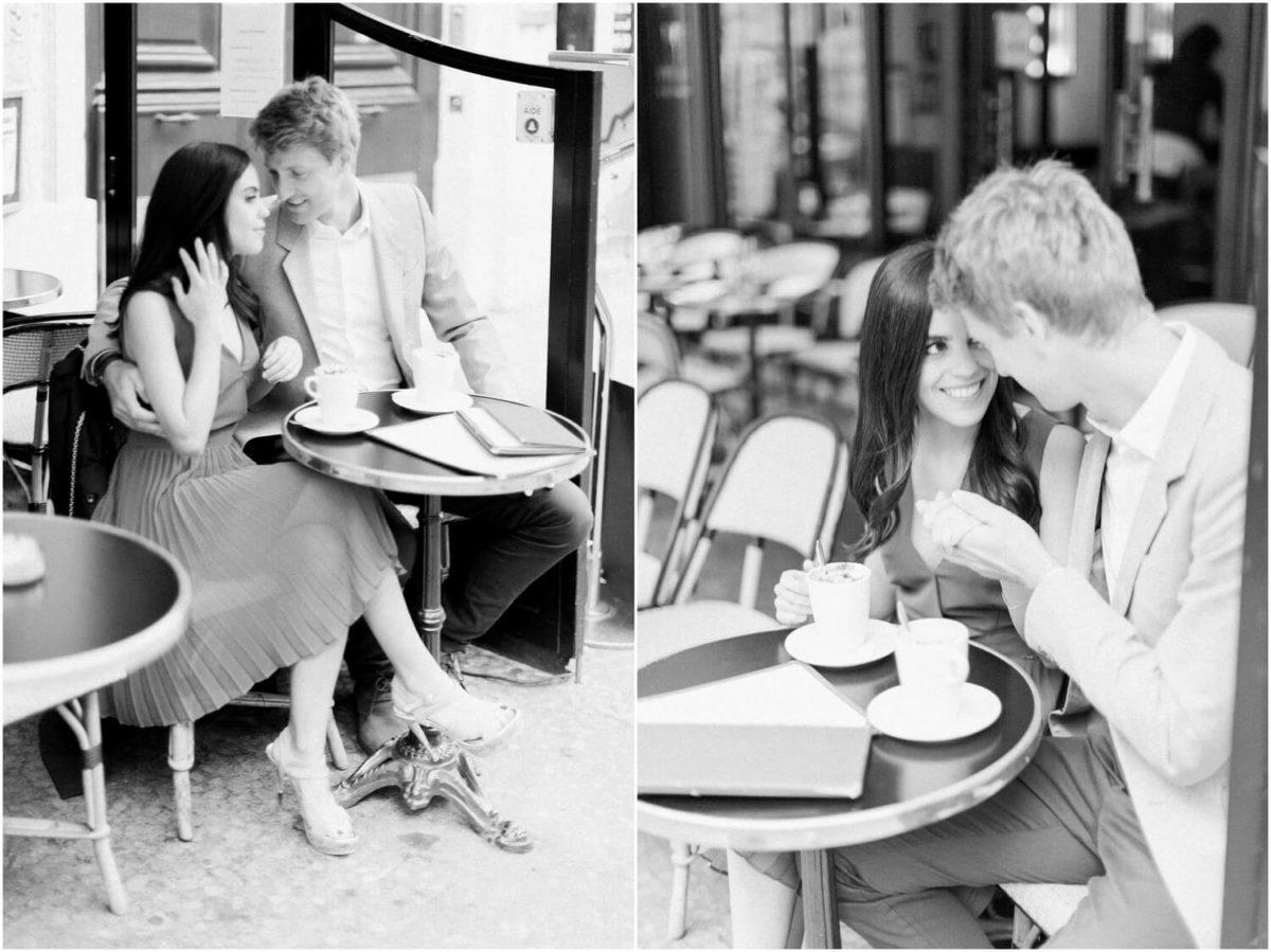 diptyque couple prenant un café en noir et blanc