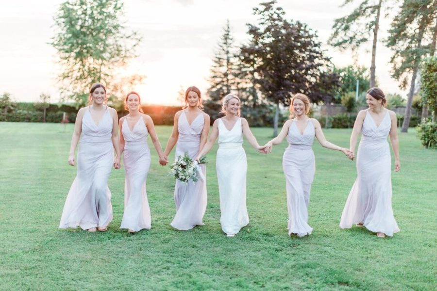 bridemaids at the garden of the château de varennes