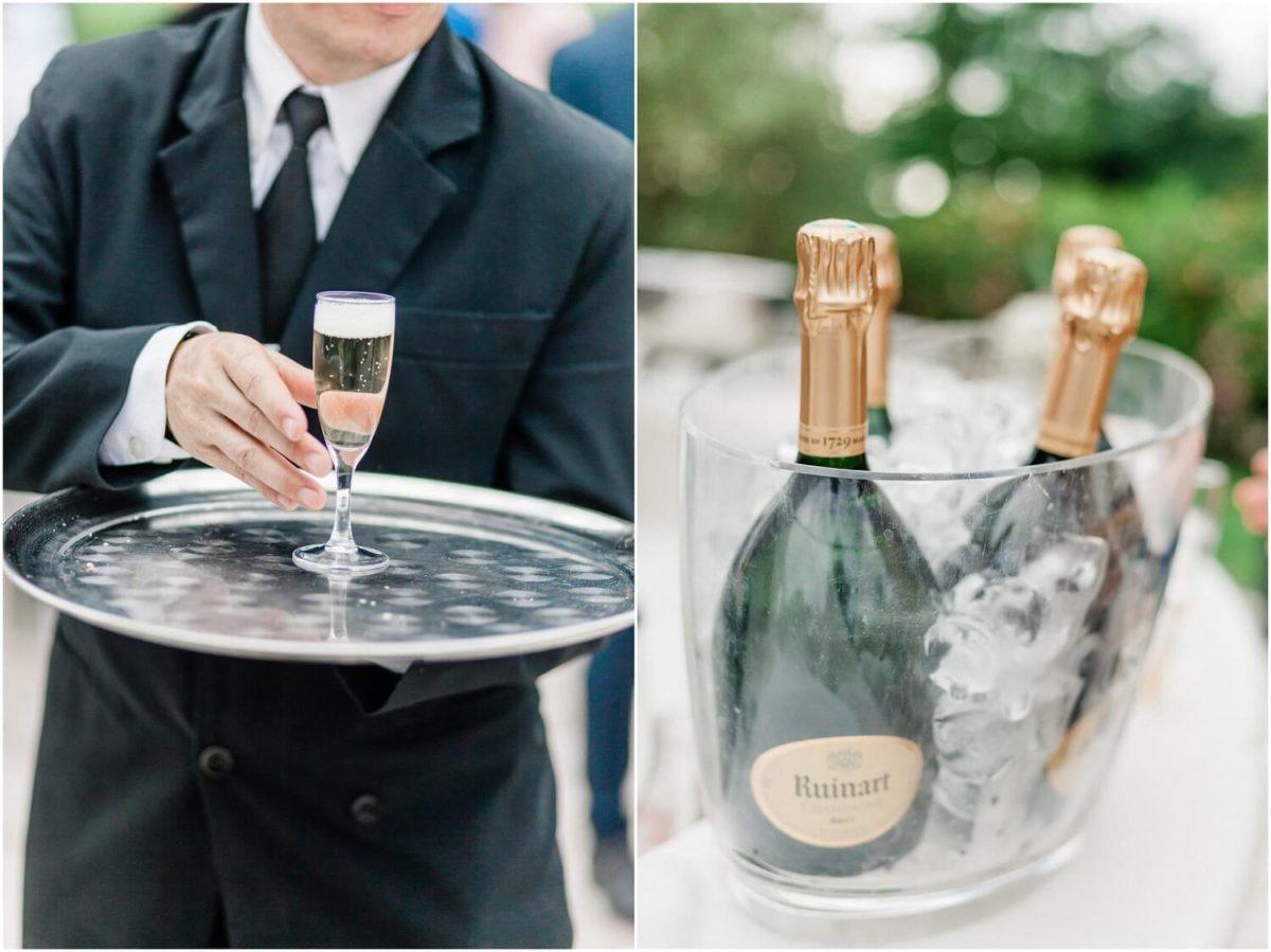 champagne et serveur au mariage