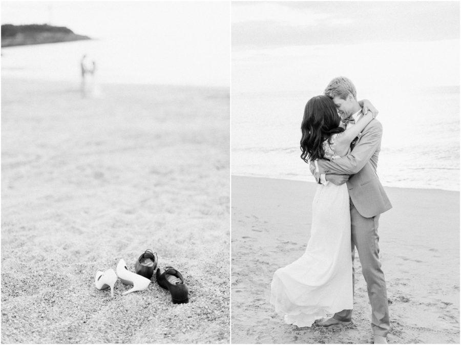 dyptique noir et blanc couple bord de mer durant la séance couple