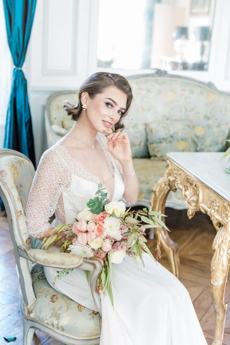 mariée assise au chateau le buisson garembroug