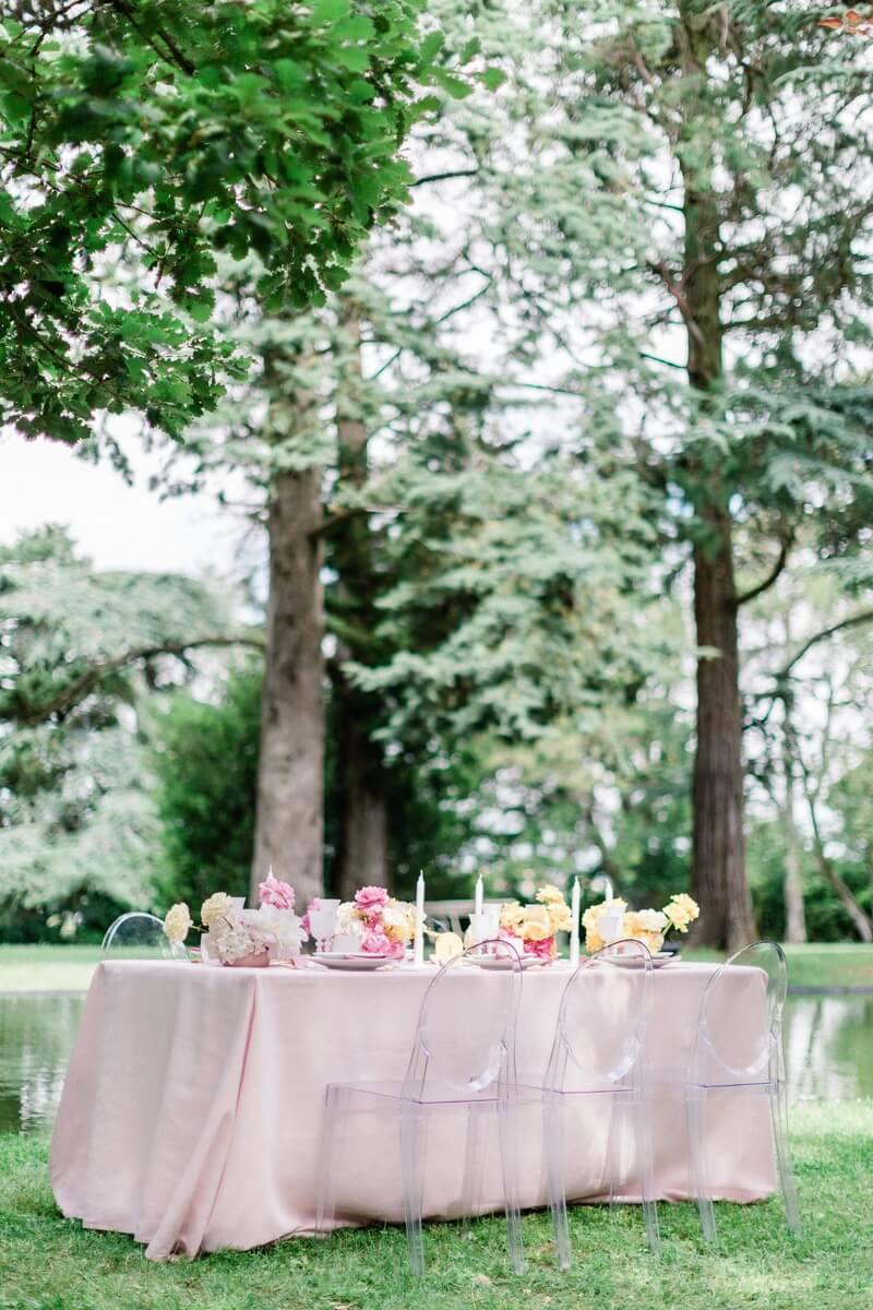 table de mariage et decoration du chateau de roquefoulet