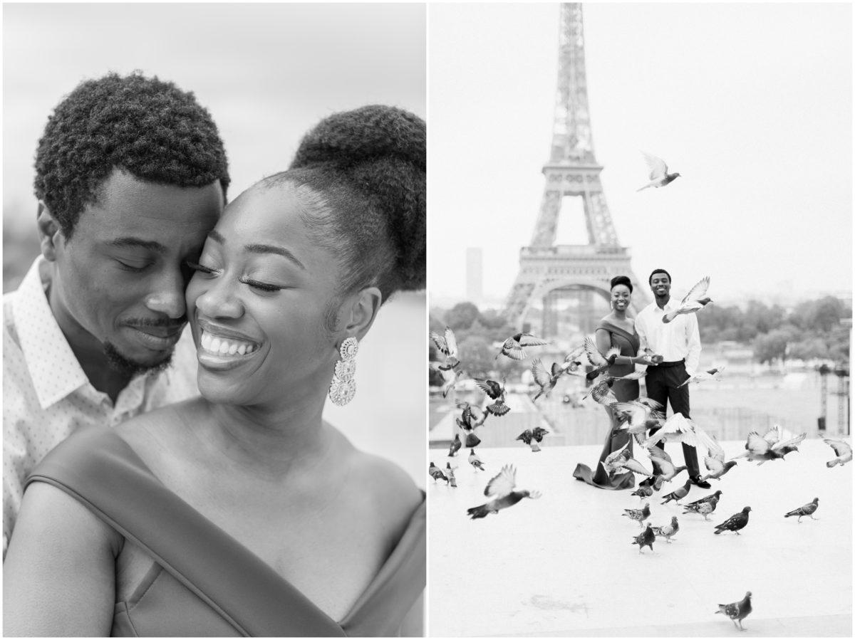 dyptique d'un couple en tenue de soirée devant la tour eiffel à Paris